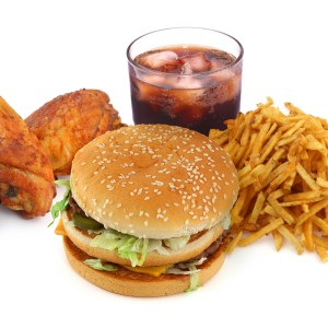 fast food collection on on white background