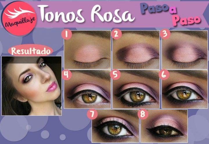 Tutorial de maquillaje paso a paso rosa para ojos